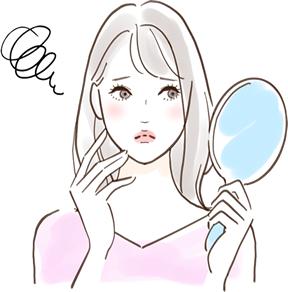 鏡を見てため息をつく女性イラスト